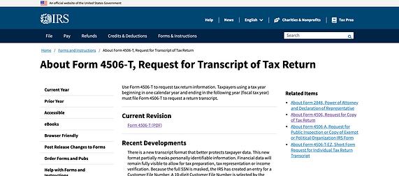 Request for Tax Transcript