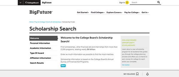 BigFuture Scholarship Search