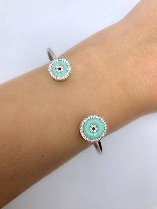 Bracelete Olho Grego Esmaltado Prata 925
