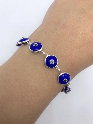 Pulseira Olho Grego Azul Prata 925