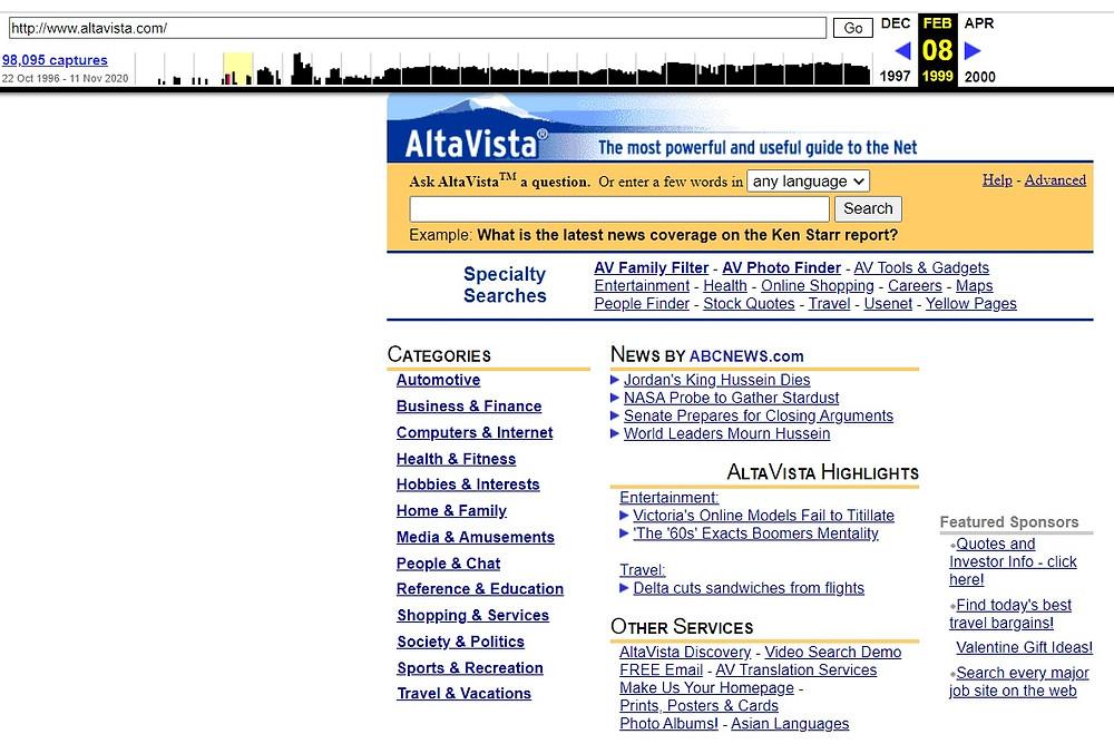 דף ארכיון של אלטאויסטה 1999