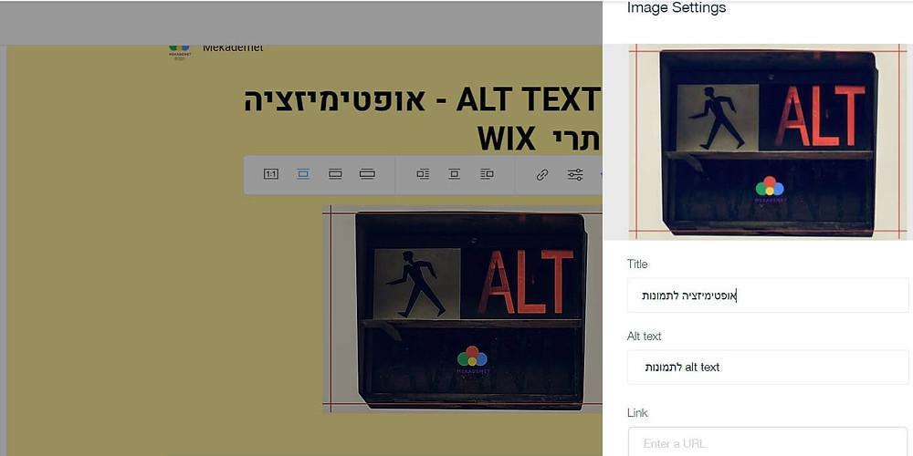 דוגמה להגדרת ALT TEXT לתמונה בבלוג