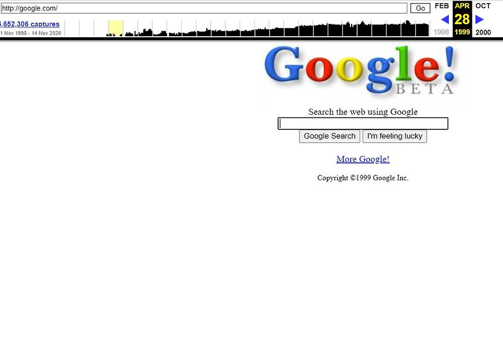 דף ארכיון ווב - גוגל 1999