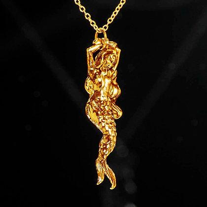 Mermaid Tied in Rope Sterling Gold Vermeil pendant