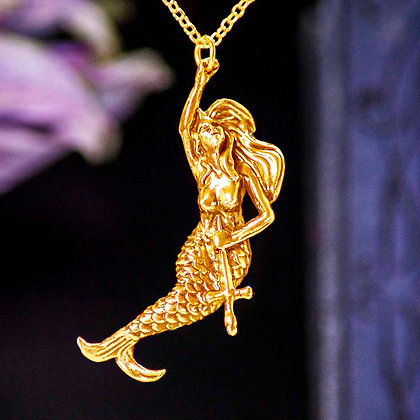 Gold Mermaid with Crucifix Vermeil pendant