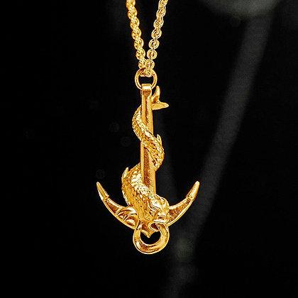 Large Serpent Anchor Gold Vermeil pendant.
