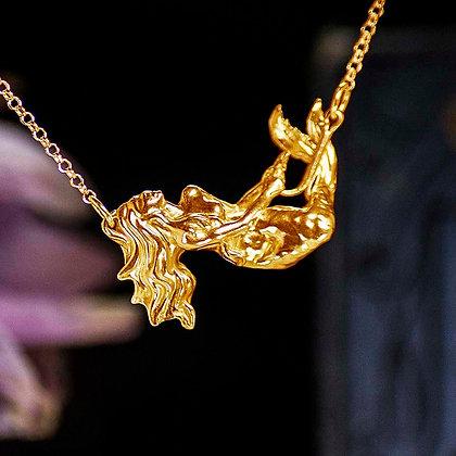 Mermaid Caught in Fish Hook Gold Vermeil pendant