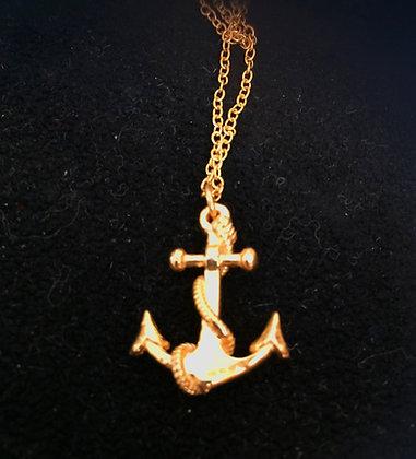 18k Antique Style Anchor Pendant