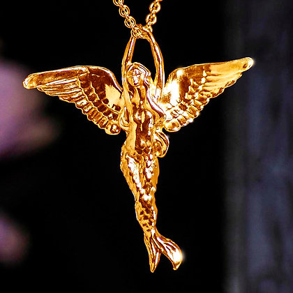 Mermaid Angel Gold Vermeil pendant with chain.