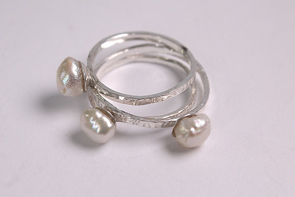 Stacking Pearl Rings Set. Mermaid Tears Collection