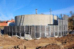 Строительство очистных сооружений, бетонные цилиндрические резервуары, опалубка для цилиндрических резервуаров