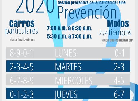 Pico y placa ambiental en Medellín por estado de prevención