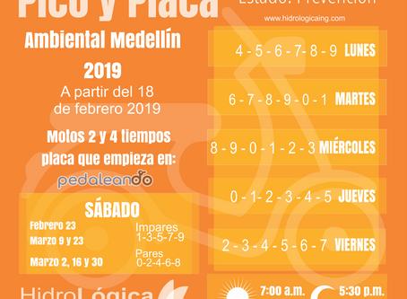 Pico y Placa Ambiental febrero 2019 Medellín