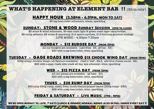 Element Bar - Whats Happening Weekly (No