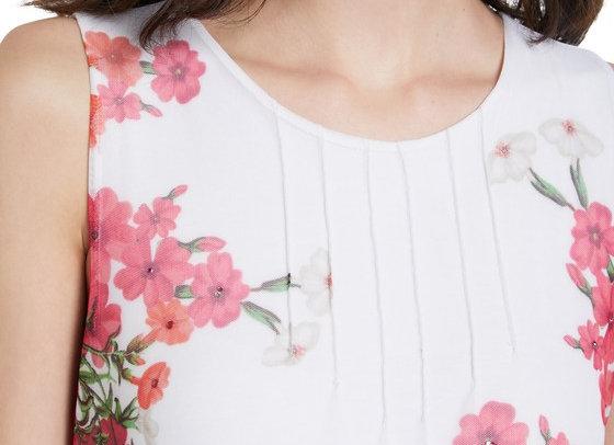 T-shirt sans manches tulle fleurs