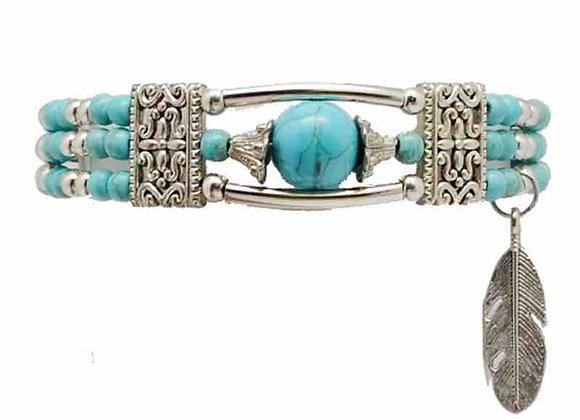 Bracelet turquoise avec plume