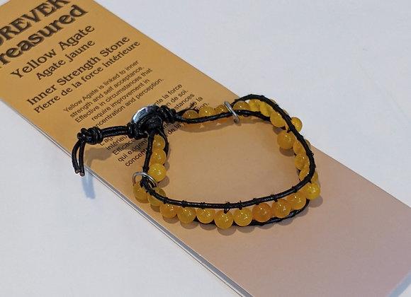 Bracelet tressé Agate Jaune