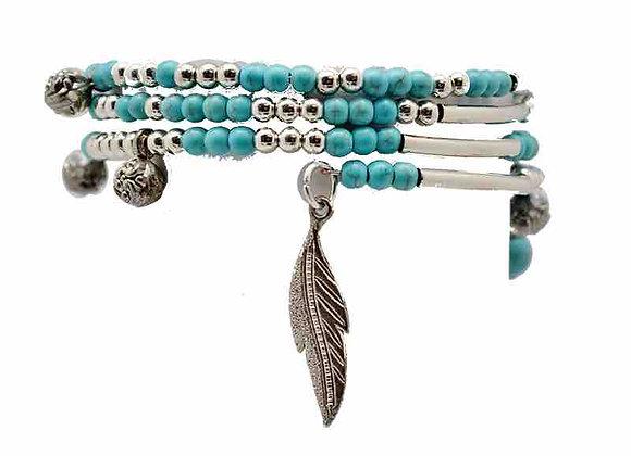 Bracelet turquoise avec plume et soleil
