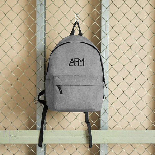 "AFM BASICS: CREW embroidered logo backpack with 15"" laptop sleeve."
