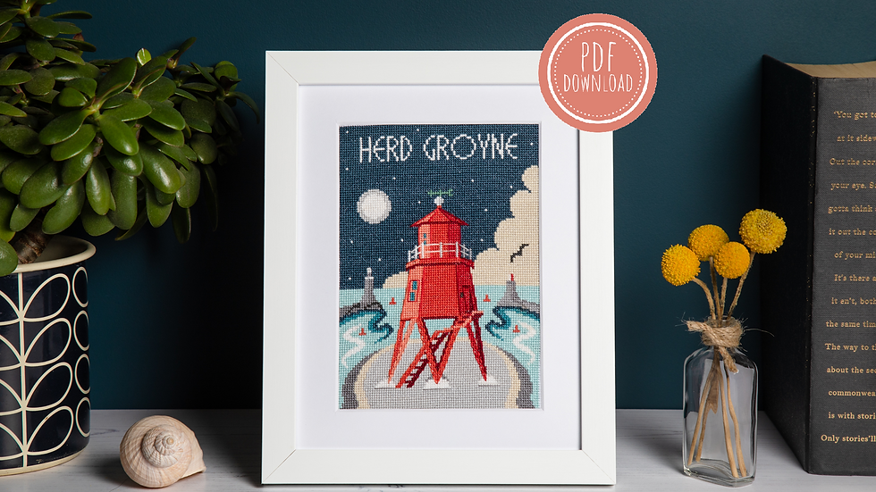 Herd Groyne Lighthouse Cross Stitch PDF Pattern