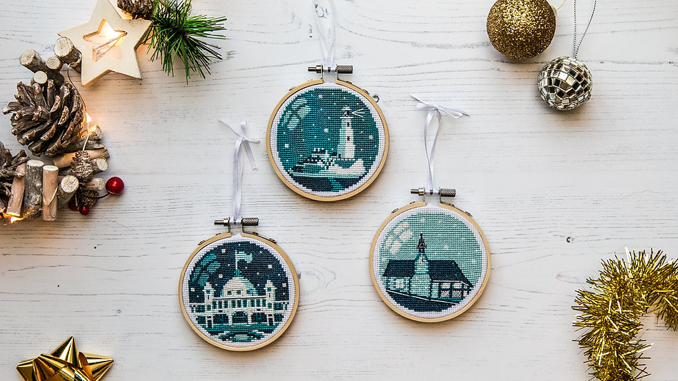 Whitley Bay and Cullercoats Bauble Cross Stitch Kit