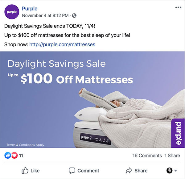 Purple Mattress | Facebook Ads
