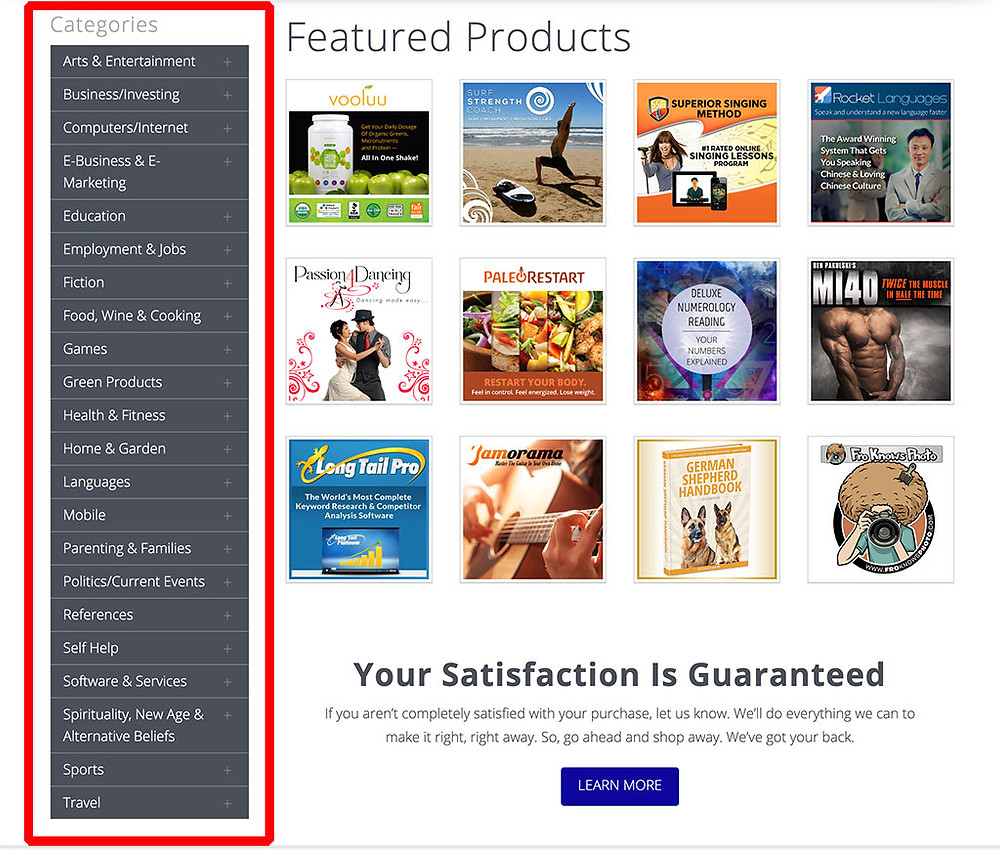 ClickBank Products Category