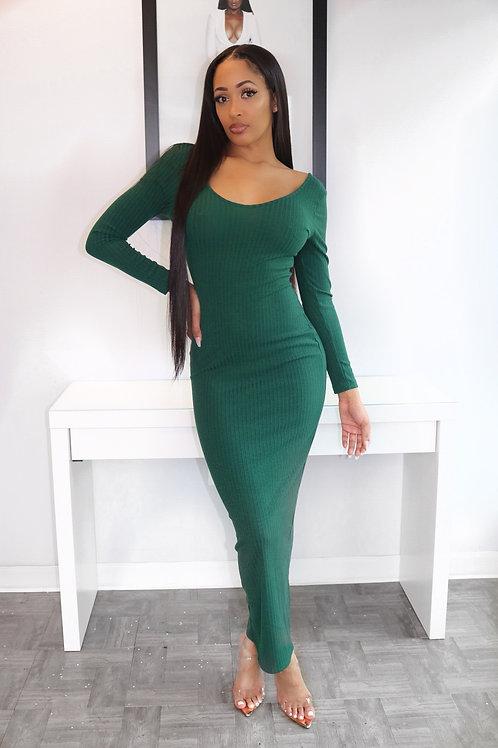 Green body con maxi dress