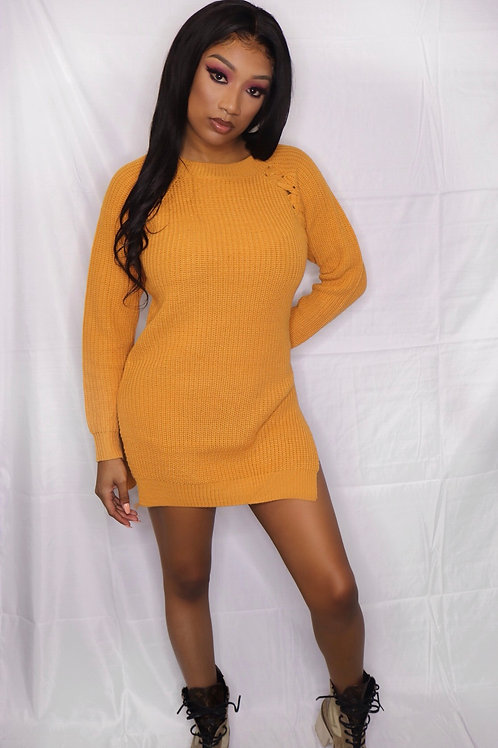 Mustard sweater dress