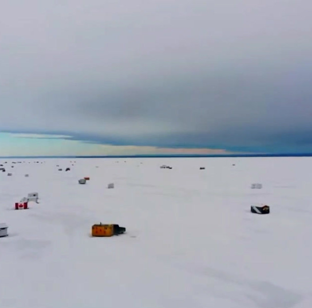 Ice Fishing Shacks - Red Sky