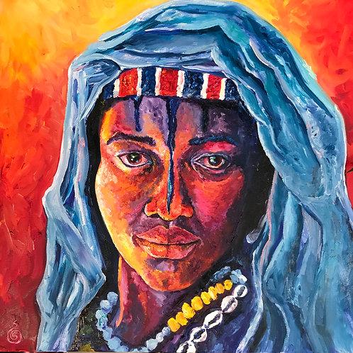 """Tuareg Goddess"" oil painting"