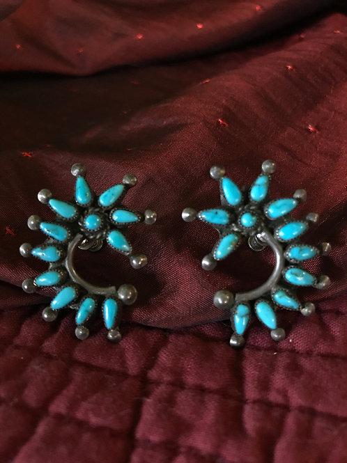 Sterling Silver Vintage Zuni Screw Back Earrings