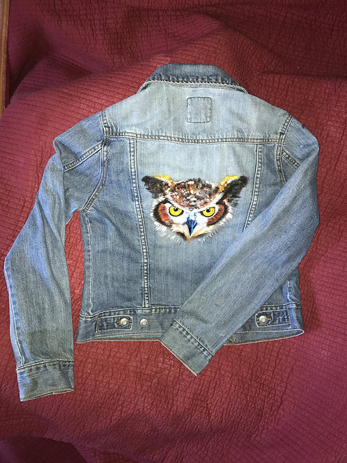 Painted Owl Denim Jacket