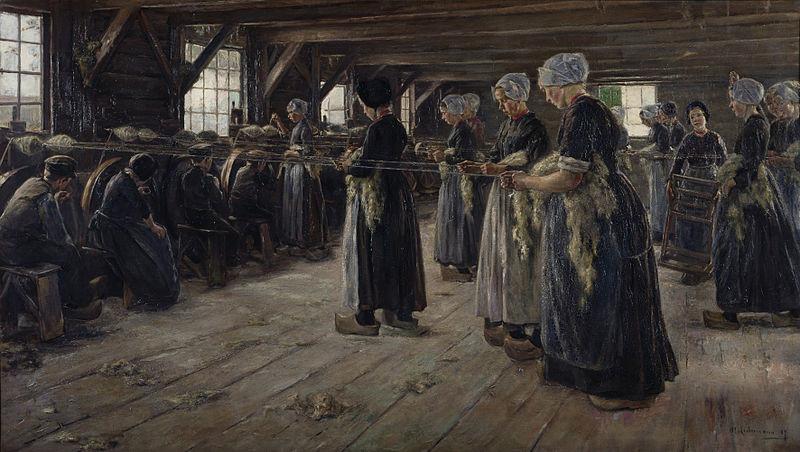 19. Yüzyıl sonunda keten işçileri. Sanatçı: Max Liebermann / Wikimedia Commons