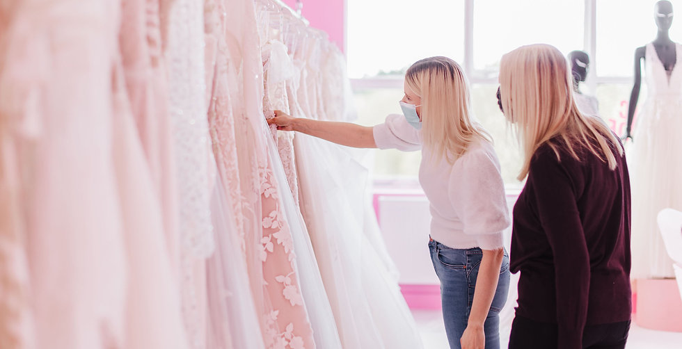 Bride looking at wedding dresses at Electric Bride Crowle Lincolnshire
