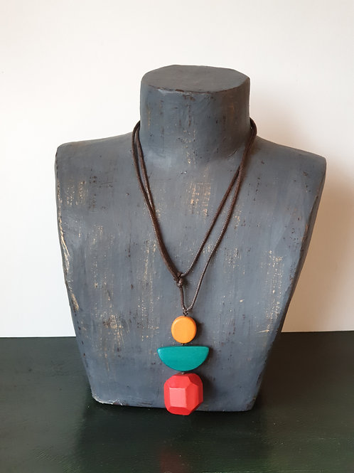Wood and Leather Thong Necklace
