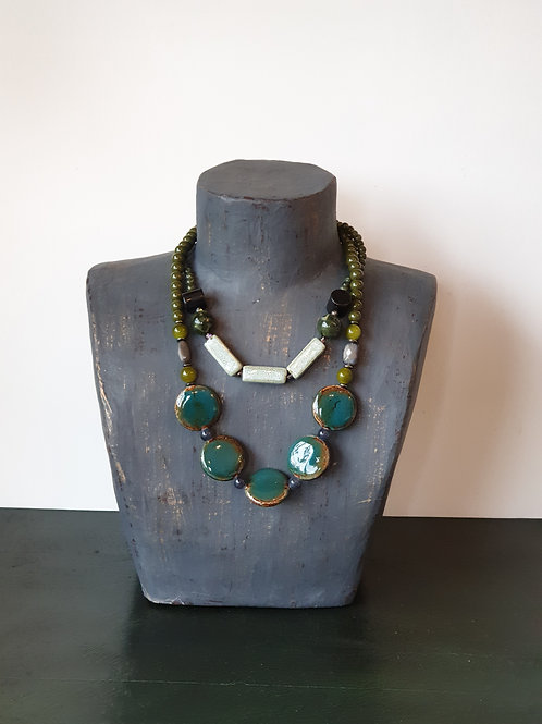 Glass Bead 2 Strand Necklace