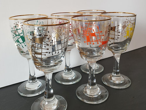 Boxed 1950/60s Sputnik Design Liqueur Glasses x 6