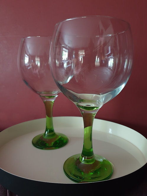 Gin & Tonic Glasses Green Stem