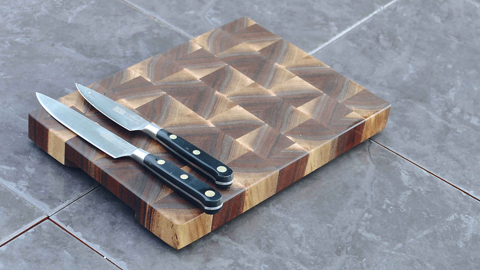 Walnut Stripy End Grain Chopping Board