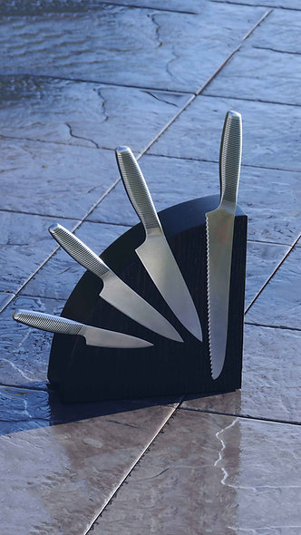 Black Oak Magnetic Knife Block