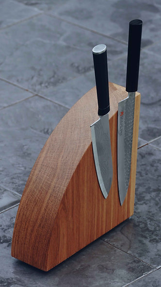 Brown Oak Magnetic Knife Block
