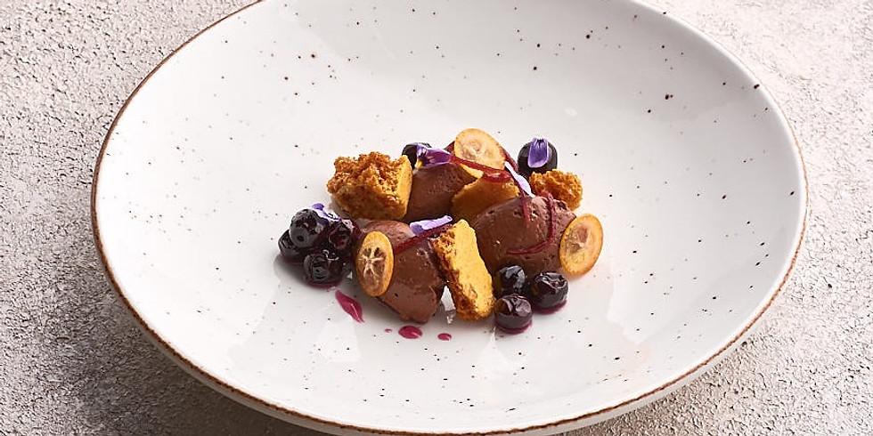 Chocolate crémeux, confit kumquats and honeycomb