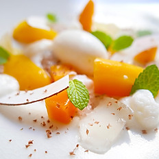 Coconut tapioca, cool coconut Malibu sorbet, with mango, mint and a lime ginger jelly