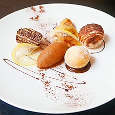 Chocolate beignets, with caramelised banana, and an apple Disaronno amaretto sorbet