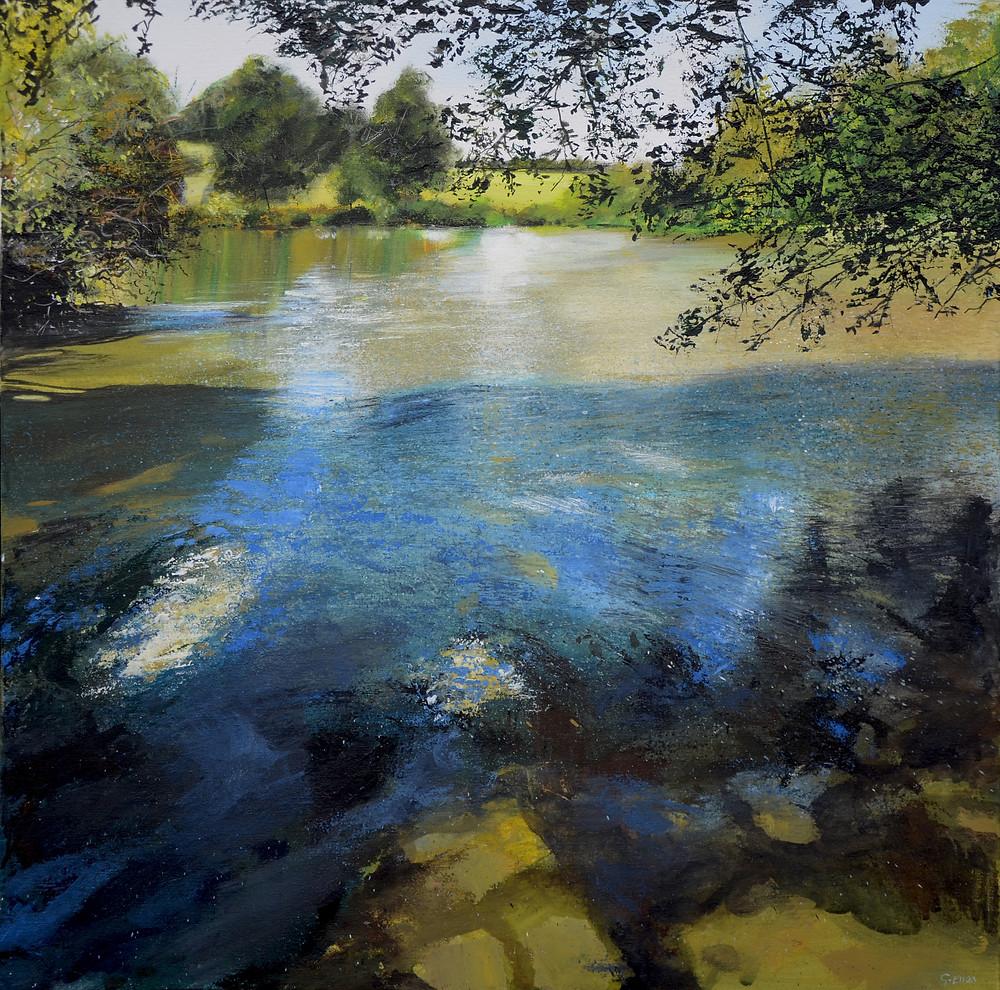 Painting of the Lake at Loseley Park, Surrey