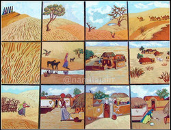 Village_Life_in_Rajasthan_Set_of_12_Paintings__12_x12(Each)_Oil_on_Canvas_£_960_