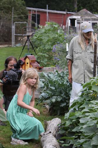 Kathy films girl & Gail in gardens