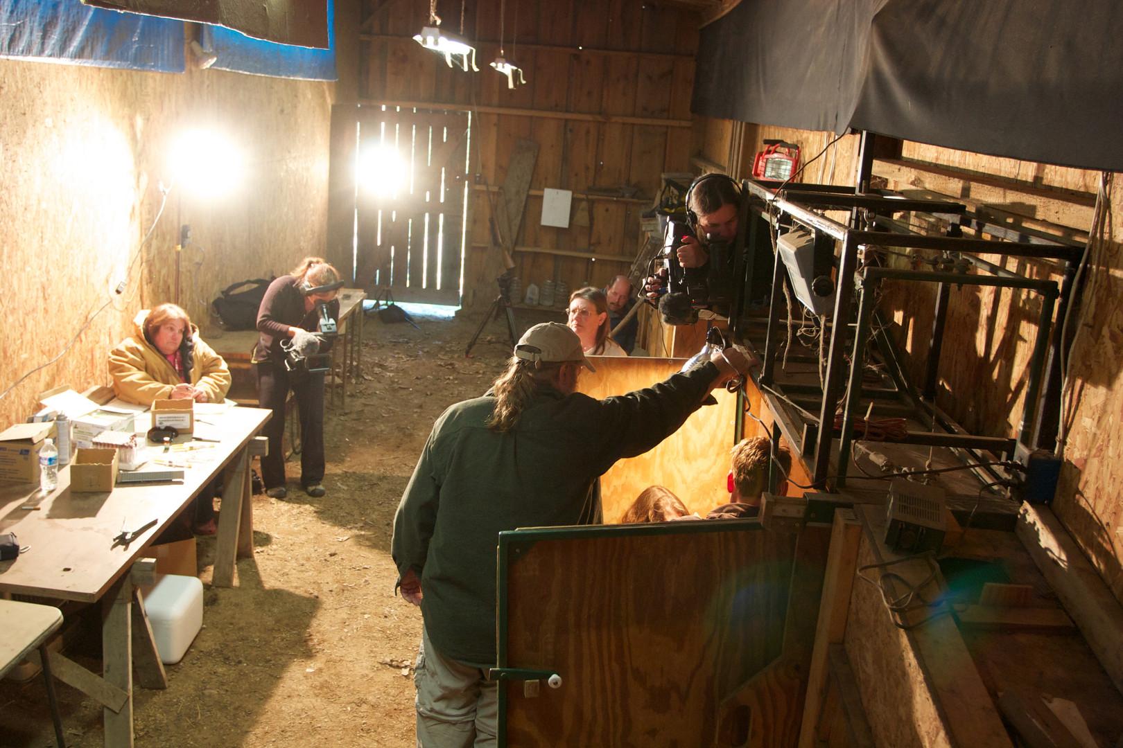 Birgit Buhleier and Kathy film deer disease testing in barn