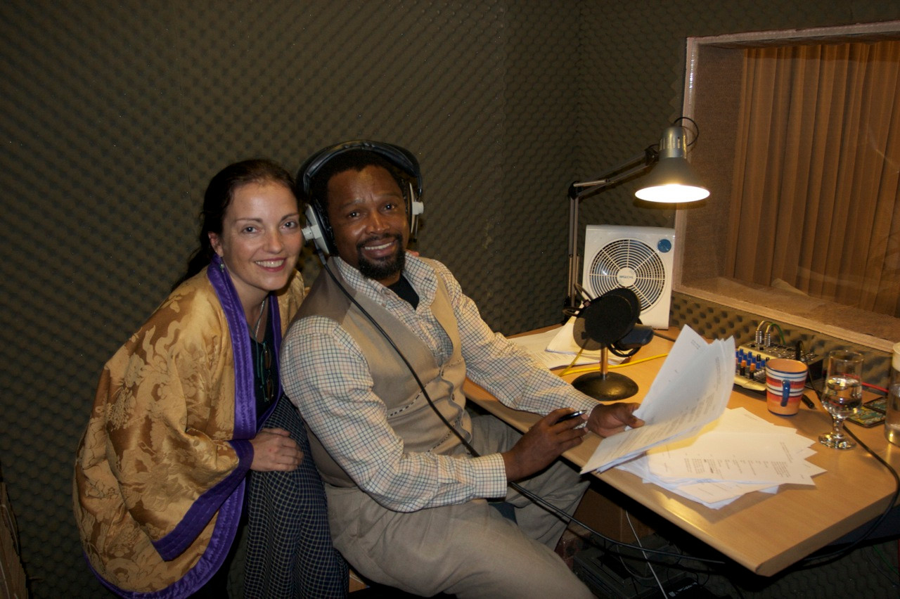 Kathy with Sello Ka N Cube, narrator Safari Sisters